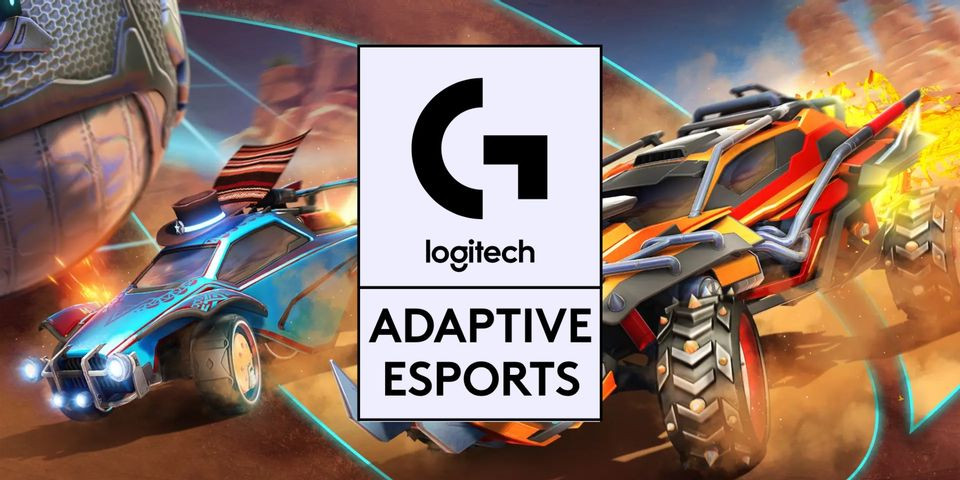 An illustration of a motor racing game scene. A blue car and red car are visible with flames coming from the back. In the middle of the image, the Logitech logo is in a white rectangle with black writing, below this logo is reads 'Adaptive Sports'