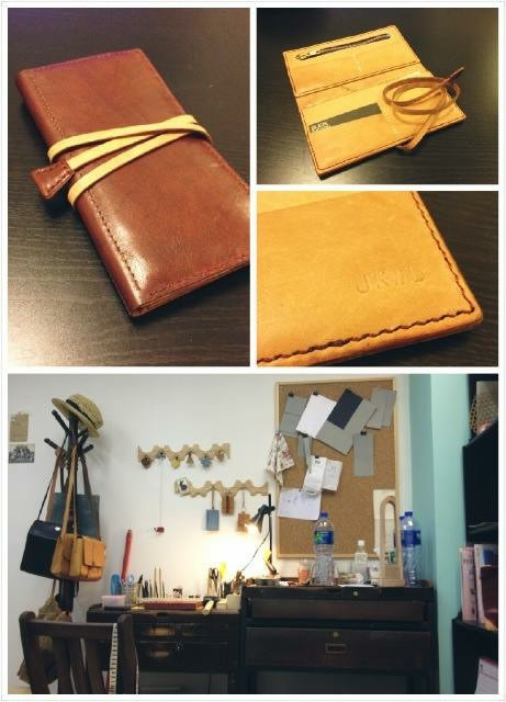 Leather wallet collage