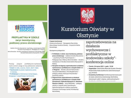 Konferencja zorganizowana przez Warmińsko- Mazurskiego Kuratora Oświaty Krzysztofa Marka Nowackiego
