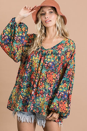 Multi Flora Sheer V-Neck Top