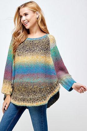 Multi Color Poncho Sweater