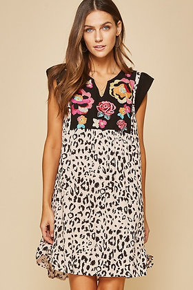 Leopard and Embroidered Bib Dress