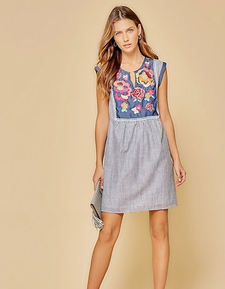 Denim Stripe and Bib Embroidered Dress