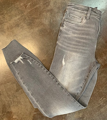 KUT High Rise Grey Distressed Skinny