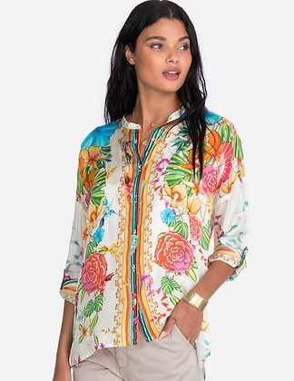 Johnny Was Summer Floral Silk Button Front Top