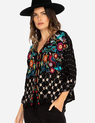 Johnny Was All Over Embroidery Button Front Blouse