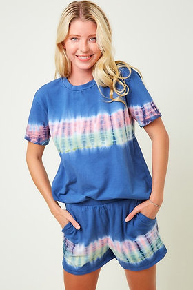 Blue Tye Dye PJ Short Set