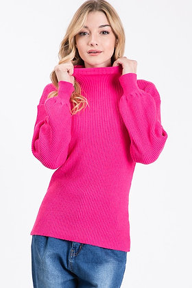 Hot Pink Ribbed Turtle Neck Sweater