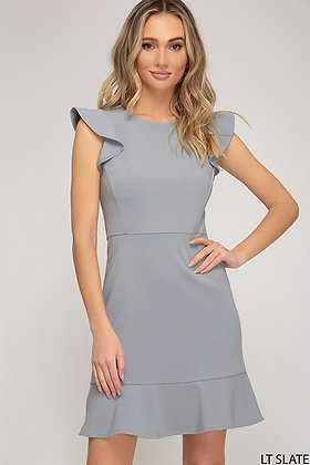 Slate Ruffle Cap Sleeve Dress