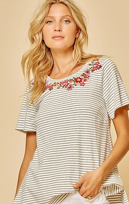 Embroidered Collar Grey Stripe Top