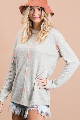 Oatmeal Long Sleeve Brushed Knit Sweater Top
