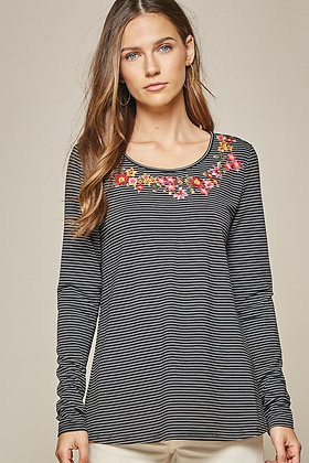 Black Striped Top w/Embroidered Collar