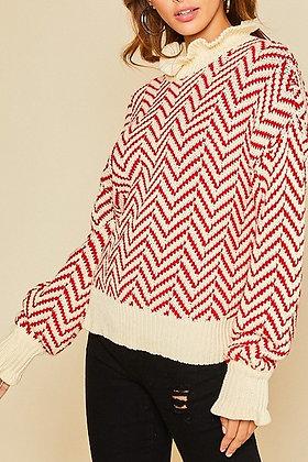 Red Stripe Sweater w/Ruffle Edge Detail