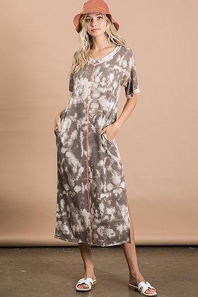 Mocha Dyed Knit Dress w/Pockets and Side Slits