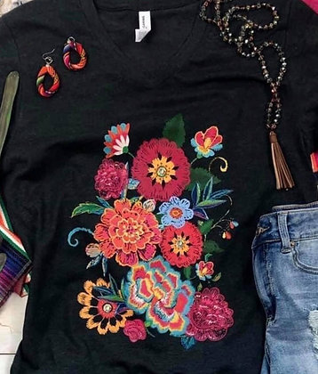 Black and Floral V-Neck tee