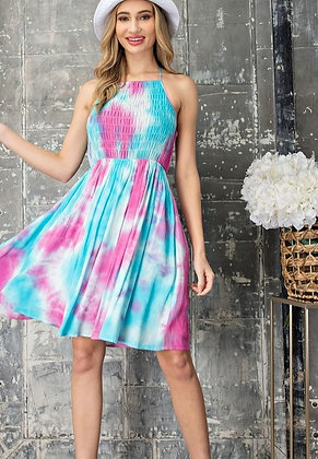 Berry and Blue Washed Halter Dress