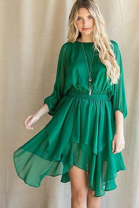 Green Chiffon Layered Dress