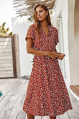 Rust  Dotted Dress w/Tie Waist