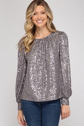 Grey Long Sleeve Sequin Top