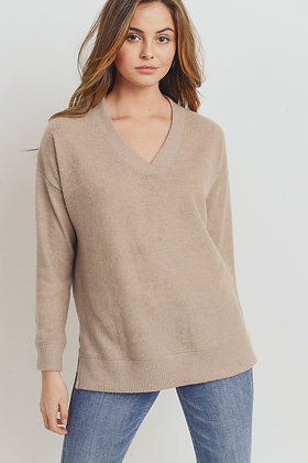 Taupe Brushed Knit Sweater