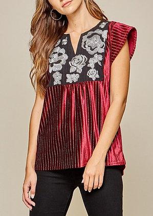 Crimson Velvet and Embroidered Shimmer Top