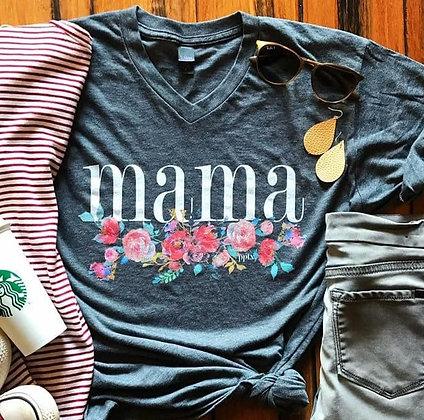 Navy V-Neck Mama Floral Tee