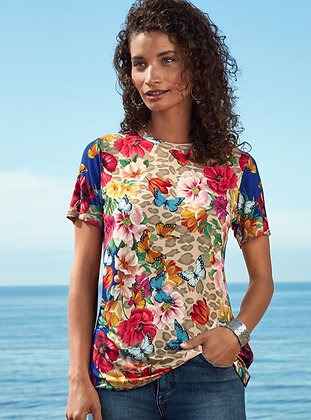 Johnny Was Butterfly Multi Print Top