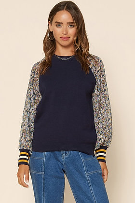 Navy Sweater Raglan w/Floral Sleeves