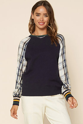 Navy Sweater Raglan w/Plaid Sleeves