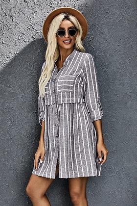 Grey and White Stripe T-shirt Dress