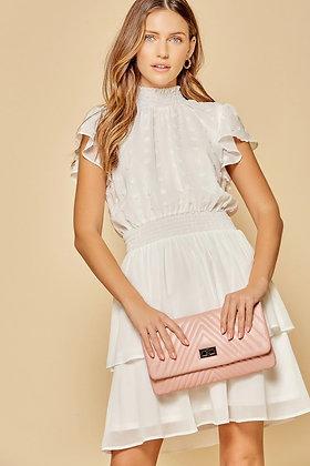 White Flutter Sleeve Tiered Skirt Dress