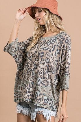 Olive Dolman Knit Animal Block Print Top