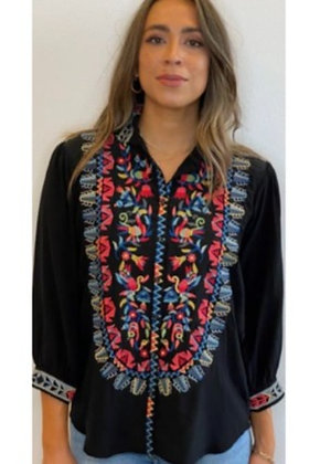 Johnny Was Black Medallion Embroidered Silk Top