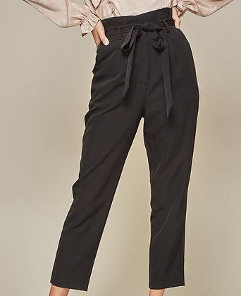 Black High Waist Tie Front Pant