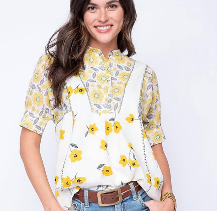 Ivy Jane Yellow Floral Cotton Top