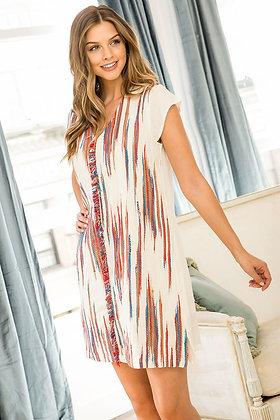 V-Neck Artisan Design Shift Dress