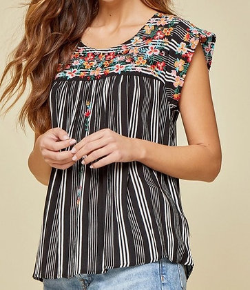 Black Striped and Embroidered Top