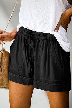 Black Wash Drawstring Cotton Short