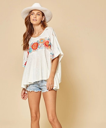 White Embroidered Poncho Top
