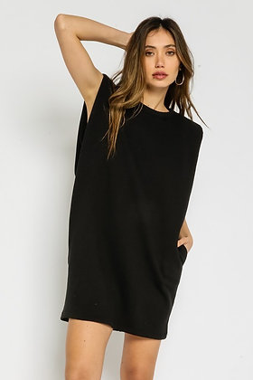Black Terry Tunic/Dress w/Pockets