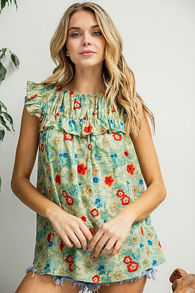 Green Floral Cotton Babydoll Top