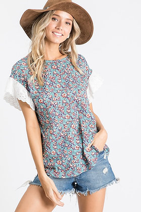Teal Cotton Flower Bud Top