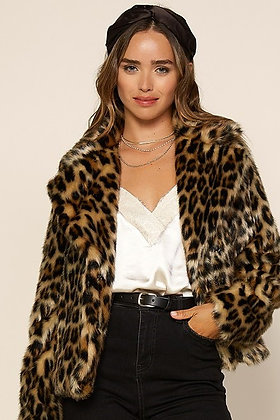 Leopard Faux Fur Crop Jacket