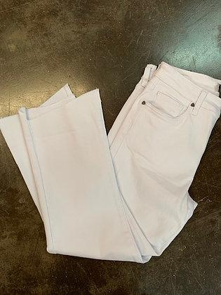 White Straight Leg w/Asymmetrical Hem