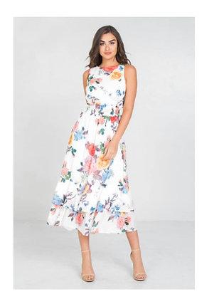 Floral Dress w/flattering Elastic Waist