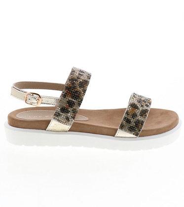 Gold and Leopard Sparkle Strap Sandal