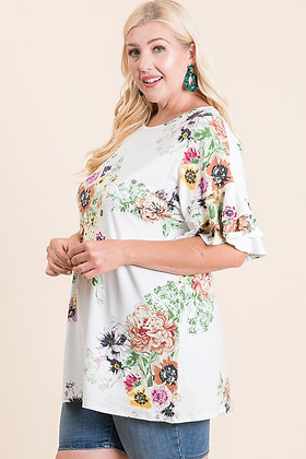 Ivory Floral Tunic/Dress