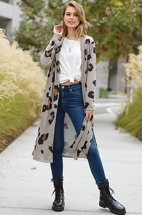 Leopard Brushed Knit Long Cardigan