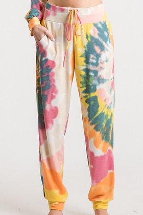Tye Dye Drawstring Pants Orange Mix
