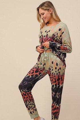 Sage Leopard Print Lounge Wear